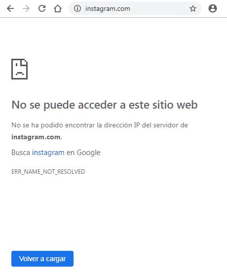 Dirección web bloqueada en Chrome