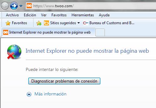 Dirección web bloqueada en Internet Explorer