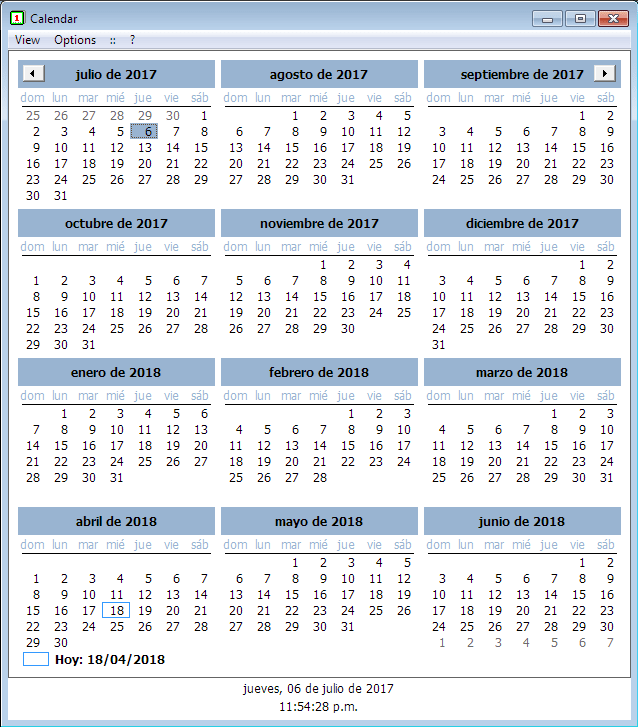 Programa Calendar