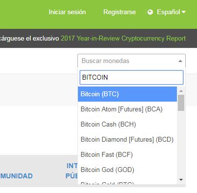 Seleccionar Bitcoin