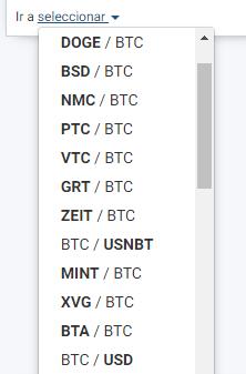 Seleccionar BTC / USD para iniciar compra