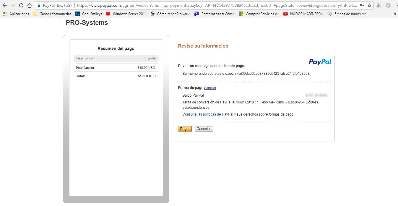 Realizar pago en Paypal