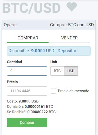 Ingresar monto en USD para iniciar compra de bitcoins