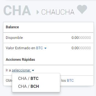 Seleccionar CHA / BTC para comprar chauchas usando bitcoins
