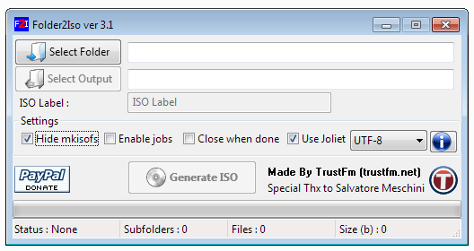 Pantalla principal Folder2Iso