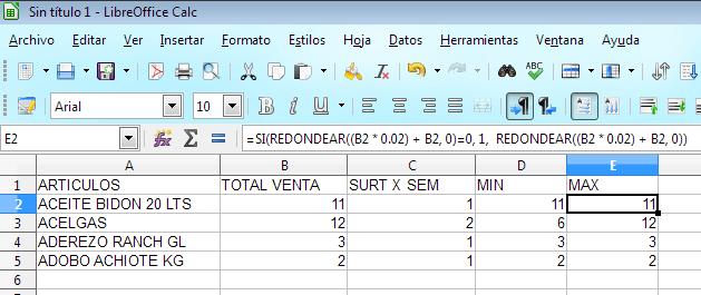 Mis Proyectos Calcular Máximos Y Mínimos De Inventario En Microsoft Excel Libreoffice