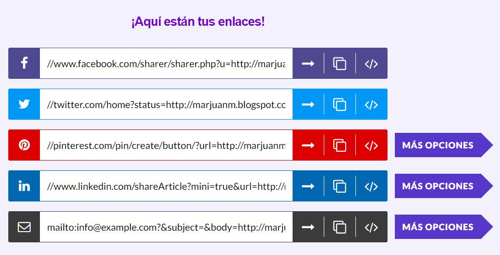 URLS listos para compartir